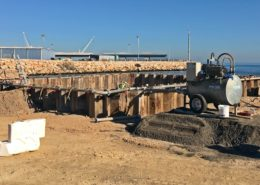 Construcción del nuevo acceso sur al Puerto de Gandía desde la carretera N-332. Viaducto sobre el río Serpis.